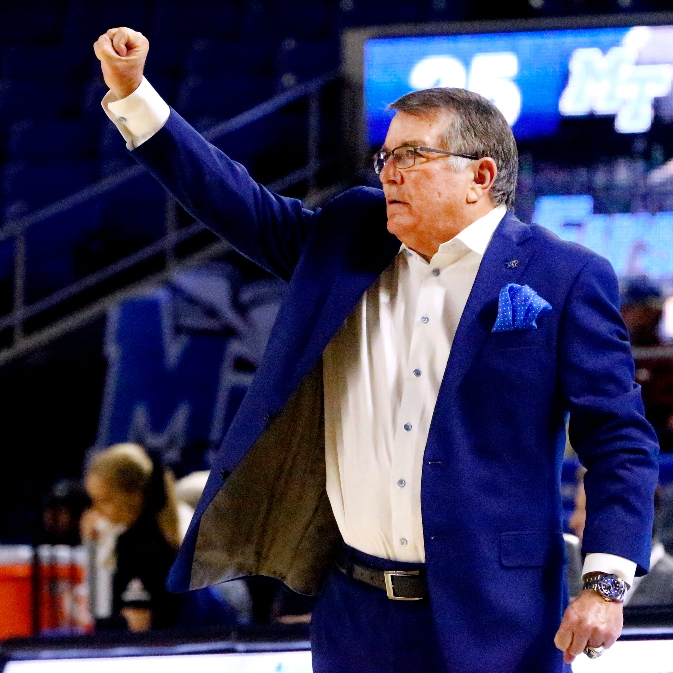 MTSU's head coach Rick Insell  on the sidelines during the game against Rice on Thursday Jan. 24, 2019.