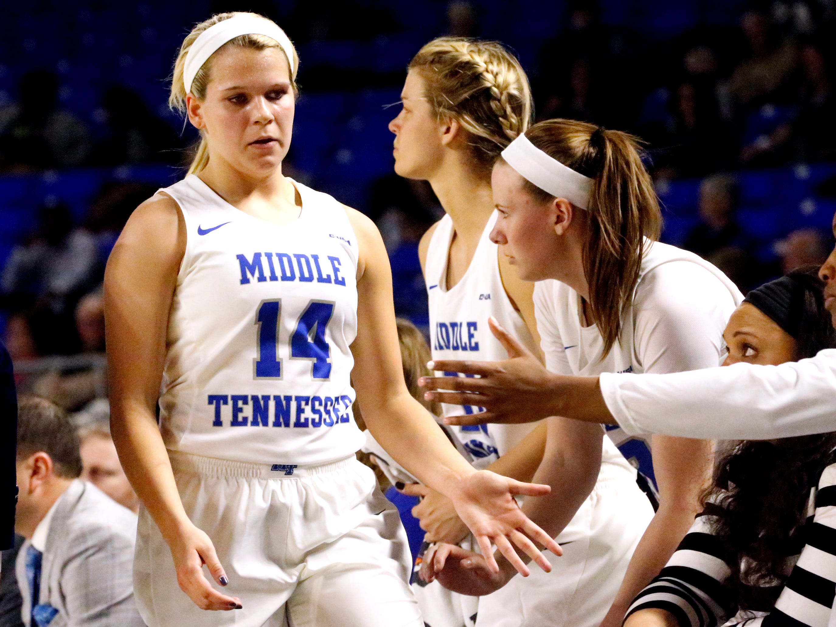 MTSU's guard Katie Collier (14) comes out of the game in the first half of the game against Rice on Thursday Jan. 24, 2019.