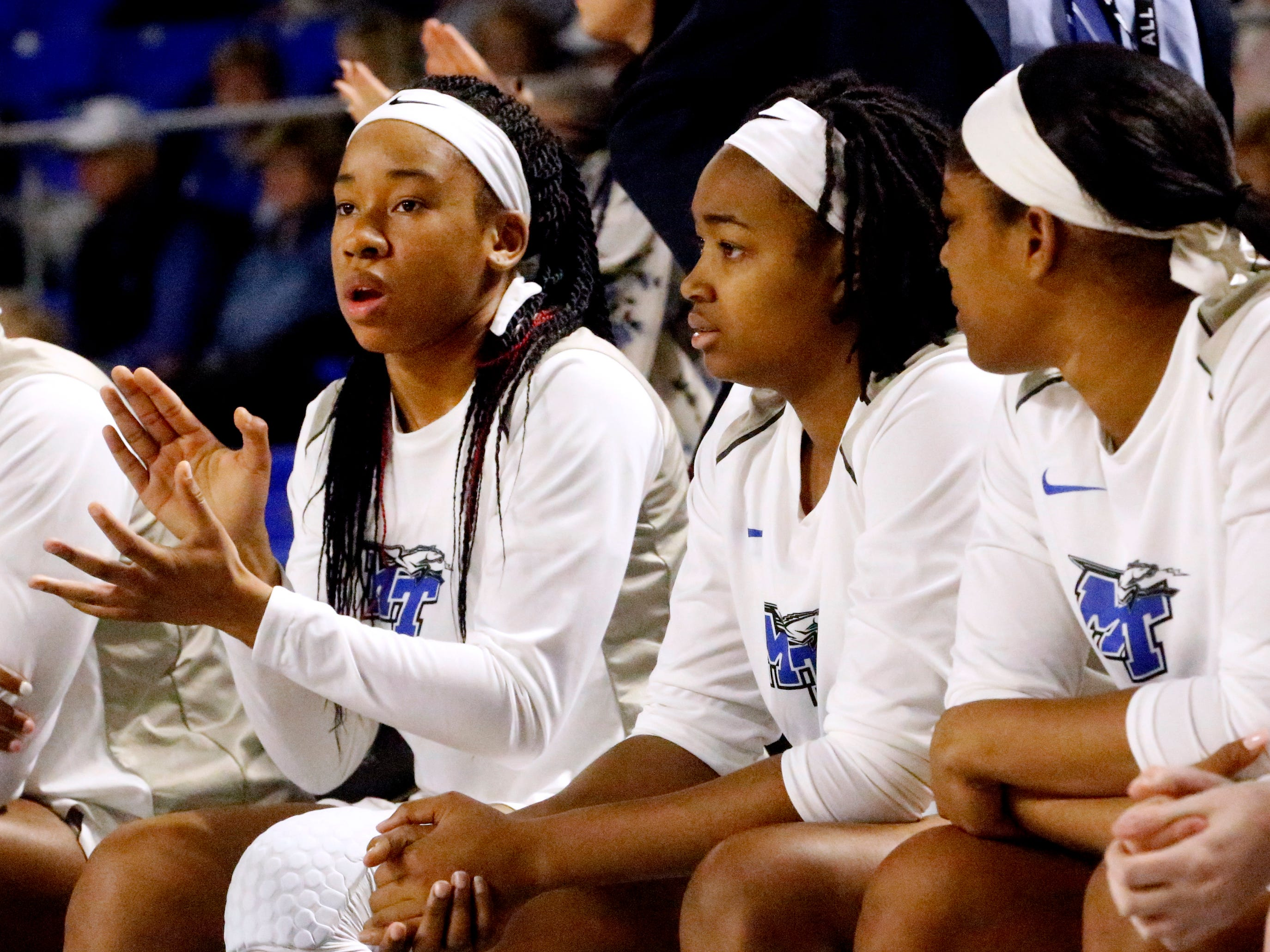 MTSU's guard Kyla Allison (3) cheers on the team as they play against Rice on Thursday Jan. 24, 2019.