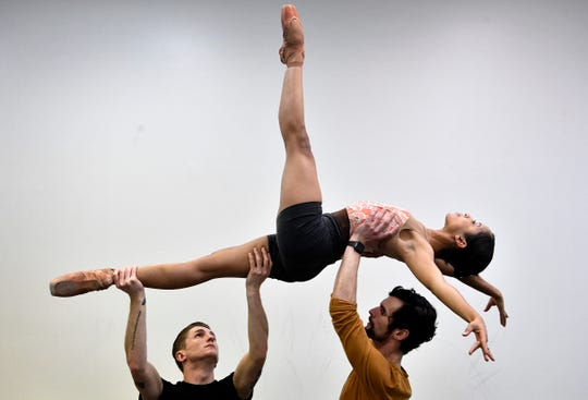 """Nicolas Scheuer, Owen Thorne and Kayla Rowser rehearse Jan. 23, 2019. Rowser will star in the lead role of the Nashville Ballet's """"Lucy Negro Redux,"""" which explores the mysterious love life of William Shakespeare through the perspective of the illustrious """"Dark Lady,"""" for whom many of his famed sonnets were written."""