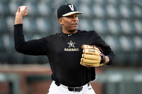 Vanderbilt's Kumar Rocker (80) throws during practice at Hawkins Field in Nashville, Tenn., Friday, Jan. 25, 2019.