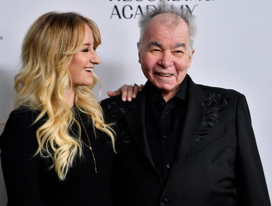 Margo Price with John Prine on the red carpet at the Recording Academy's annual Grammy nominee party on  Thursday, Jan. 24, 2019. in Nashville, Tenn.