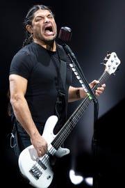 Metallica bassist Robert Trujillo performs during the WorldWired Tour at Bridgestone Arena in Nashville, Tenn., Thursday, Jan. 24, 2019.