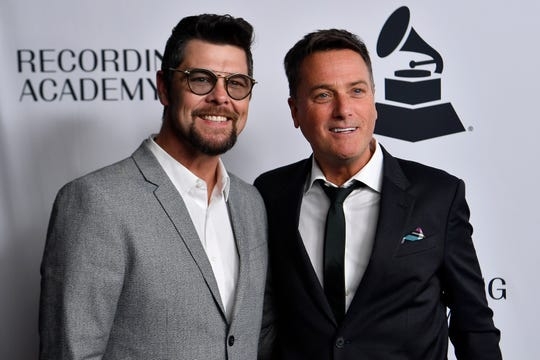 Jason Crabb with Michael W. Smith on the red carpet at the Recording Academy's annual Grammy nominee party on  Thursday, Jan. 24, 2019. in Nashville, Tenn.