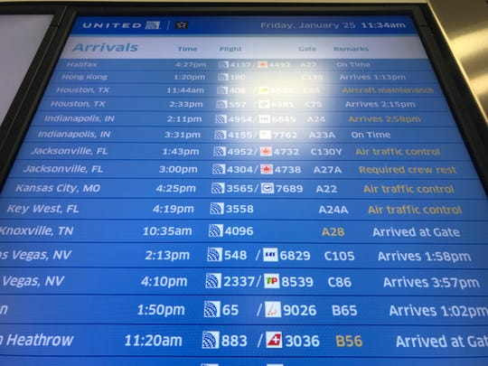 United Airlines arrivals board at Newark Airport Terminal C Friday showed some delays because of an air traffic control worker shortage due to the government shutdown.