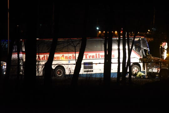 Police at the scene where a bus and car were involved in a fatal accident on eastbound Route 80 in Parsippany around 7:30 p.m. Thursday, Jan. 24, 2019.
