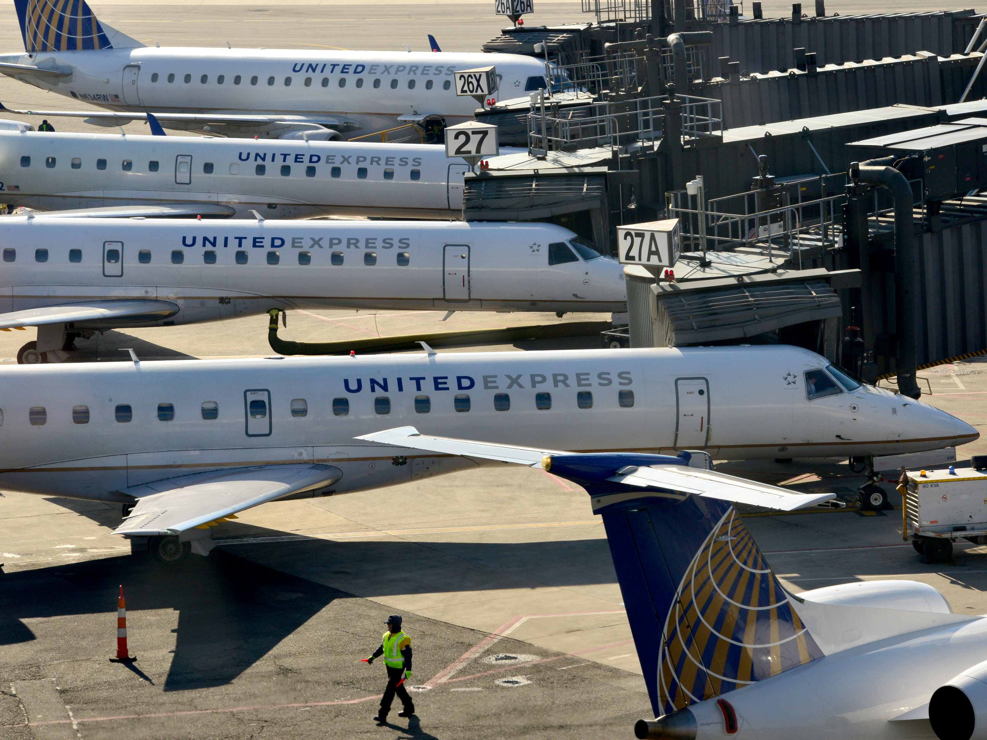Planes at the gate in Terminal A at Newark Airport. Some traveller experienced the effects of the Federal shutdown while traveling in and out of the airport in Newark, Friday January 25, 2019.