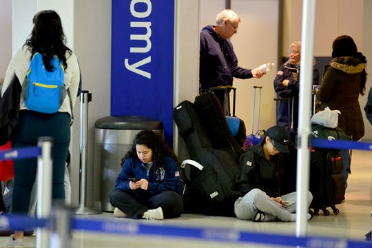 Travelers at Newark Airport. Some traveller experienced the effects of the Federal shutdown while traveling in and out of the airport in Newark, Friday January 25, 2019.