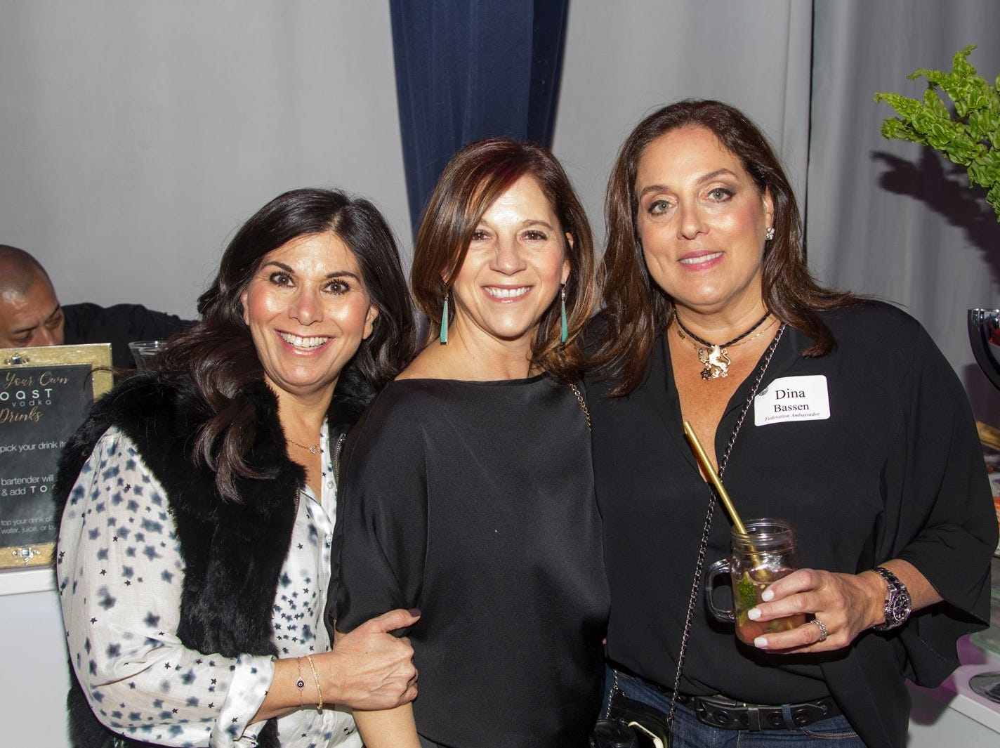 Patricia Tesher, Donna, Dina Bassen. Jewish Federation of Northern New Jersey held its first Girl's Night Out dance party at Space in Englewood. 01/24/2019