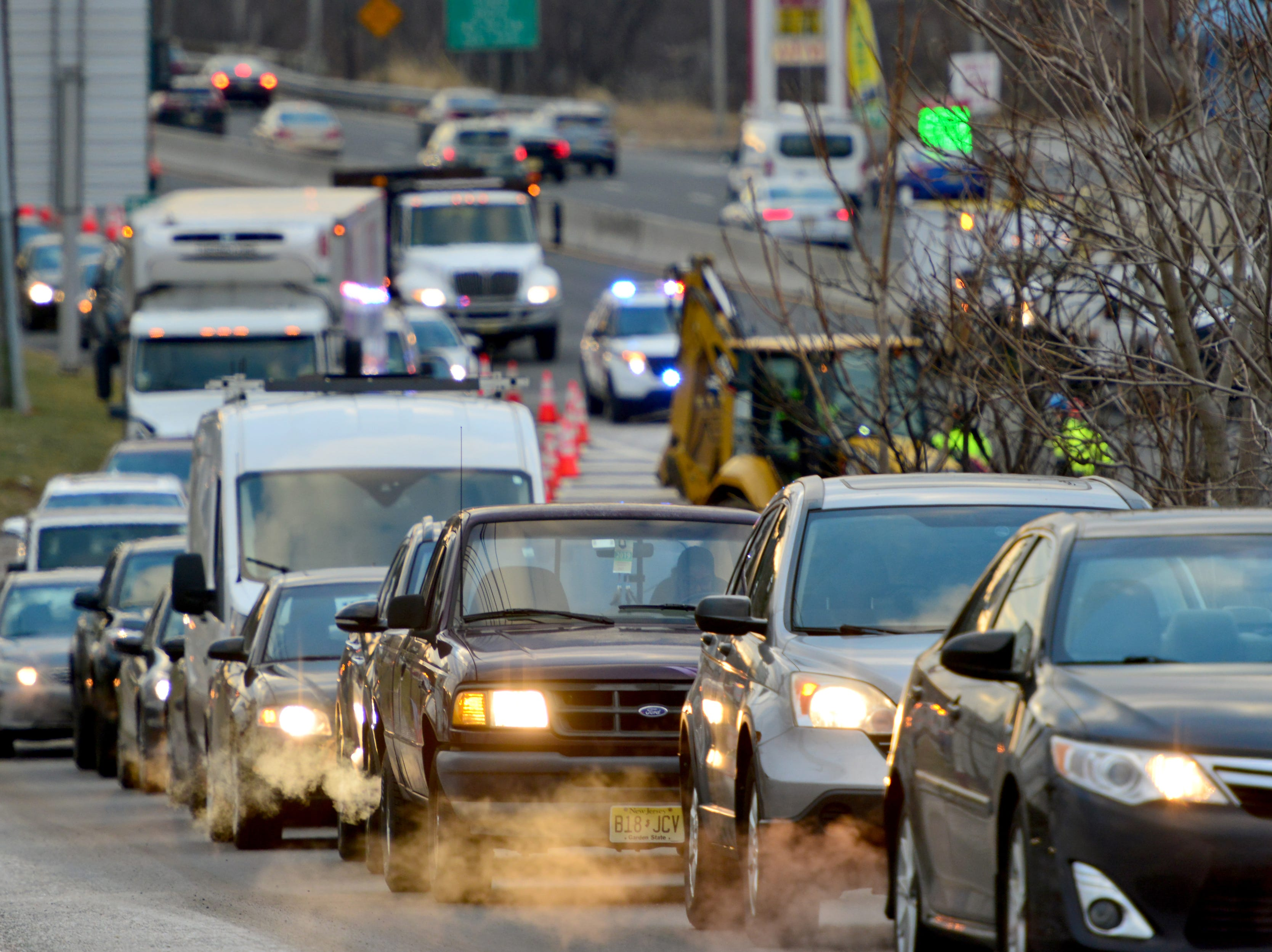 A water main break is causing huge traffic delays on Route 4 westbound in Hackensack, on Friday morning rush hour commute on January 25, 2019. All westbound traffic is being detoured north onto Hackensack Ave. Suez water company is on scene conducting repairs.