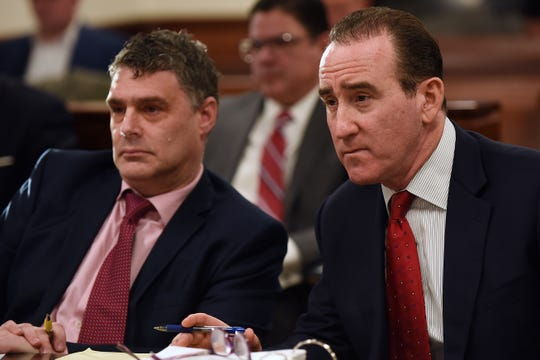 David Panitz and David Eisbrouch with Eisbrouch Marsh during a hearing on the Bergen Catholic wrestler case at Bergen County Courthouse in Hackensack on Friday January 25, 2019.