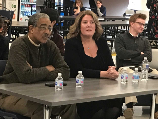 State Sen. Ronald Rice (D-Dist. 28) and Assemblywoman Holly Schepisi (R-Dist. 39) listen to Ramsey High School presentation on unexpected impacts of marijuana legalization in New Jersey.