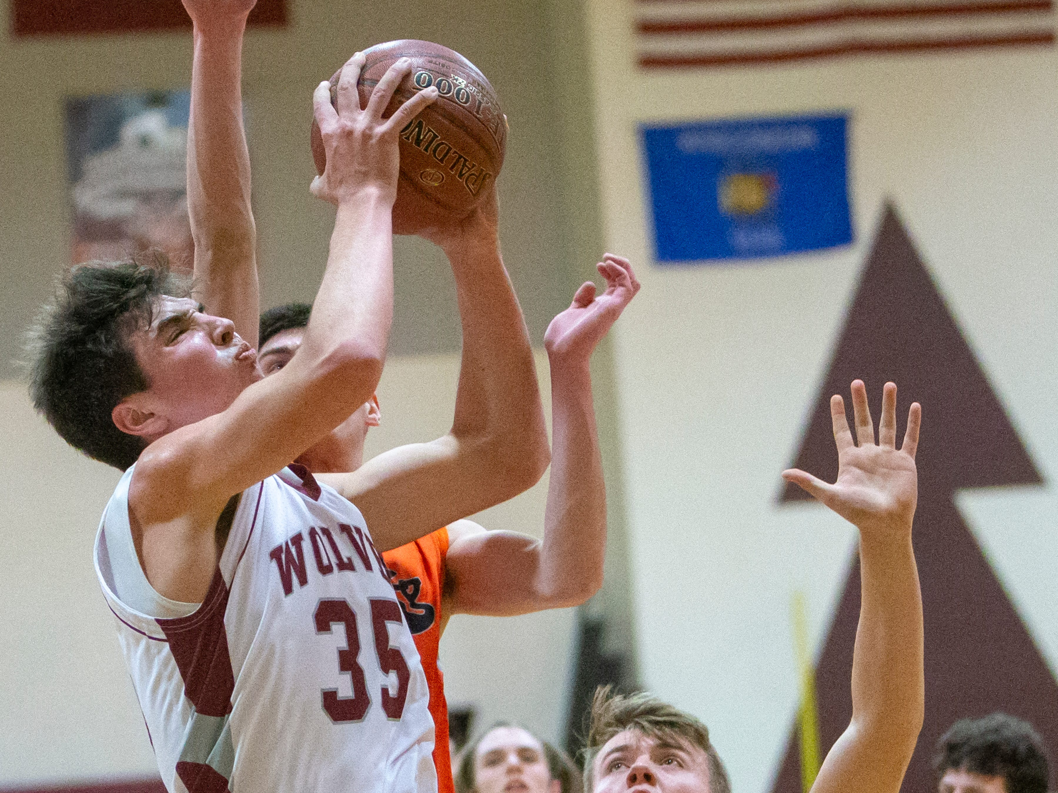Winneconne's Greg Murawski goes up for a shot playing against Ripon at Winneconne High School on Thursday, January 24, 2019.