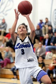 Cathedral City's Nina Wallace shoots the ball against Yucca Valley in Cathedral City on Thursday, January 24, 2019.