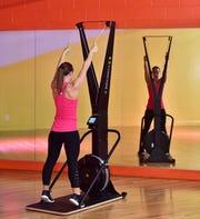 Emily Hazewinkel, a SkiERG workout.