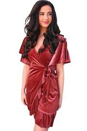 """• The """"Grand"""" velvet wrap dress, $28, Blue Spero."""