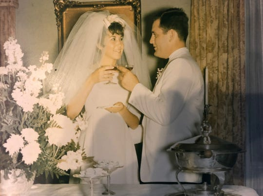 Wedding day of Lewis and Belle Bear in August of 1966.