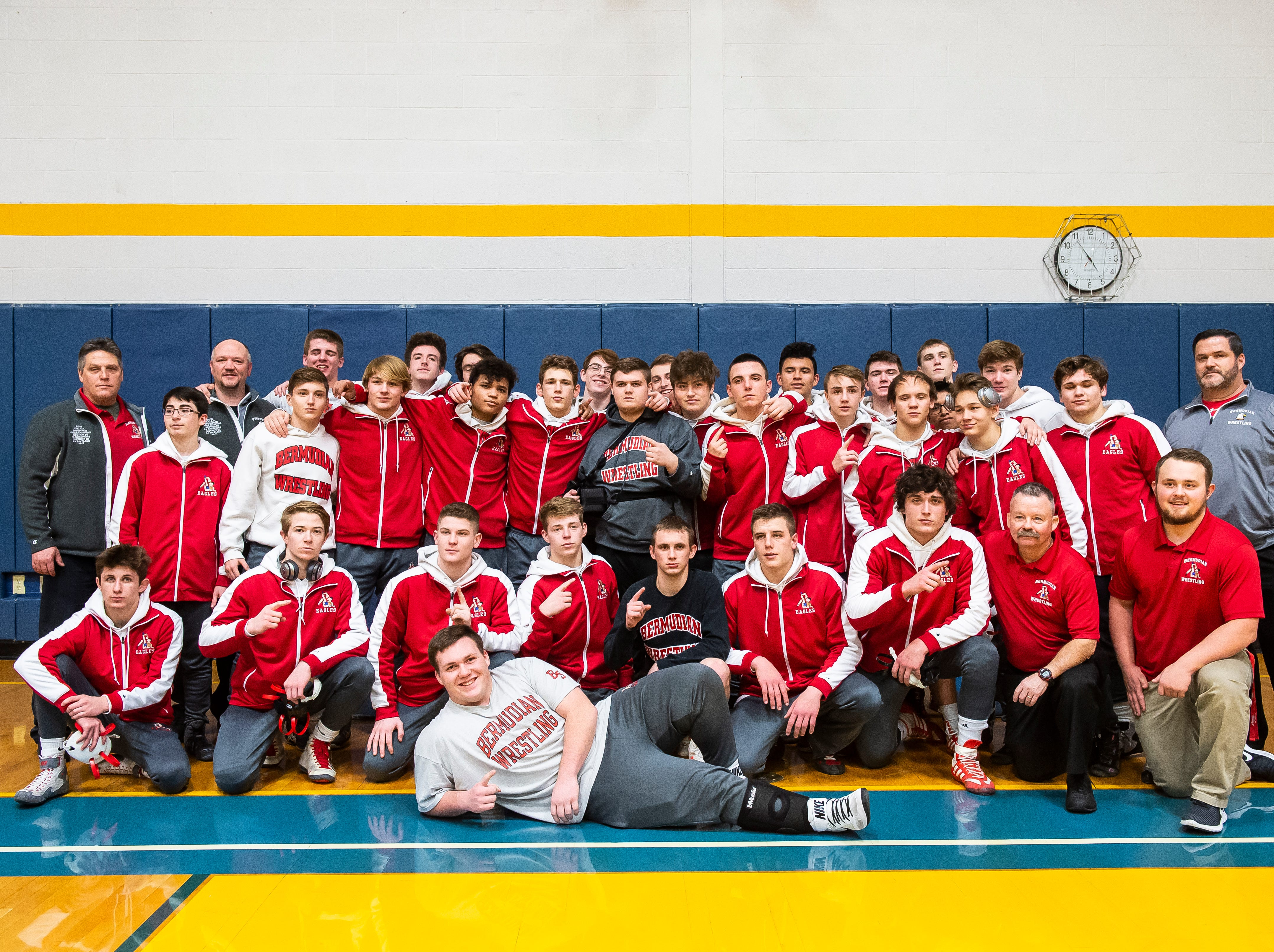 The Bermudian Springs wrestling team pose for a team photo after defeating Littlestown 62-12 to capture the YAIAA Division 3 title on Thursday, January 24, 2019.