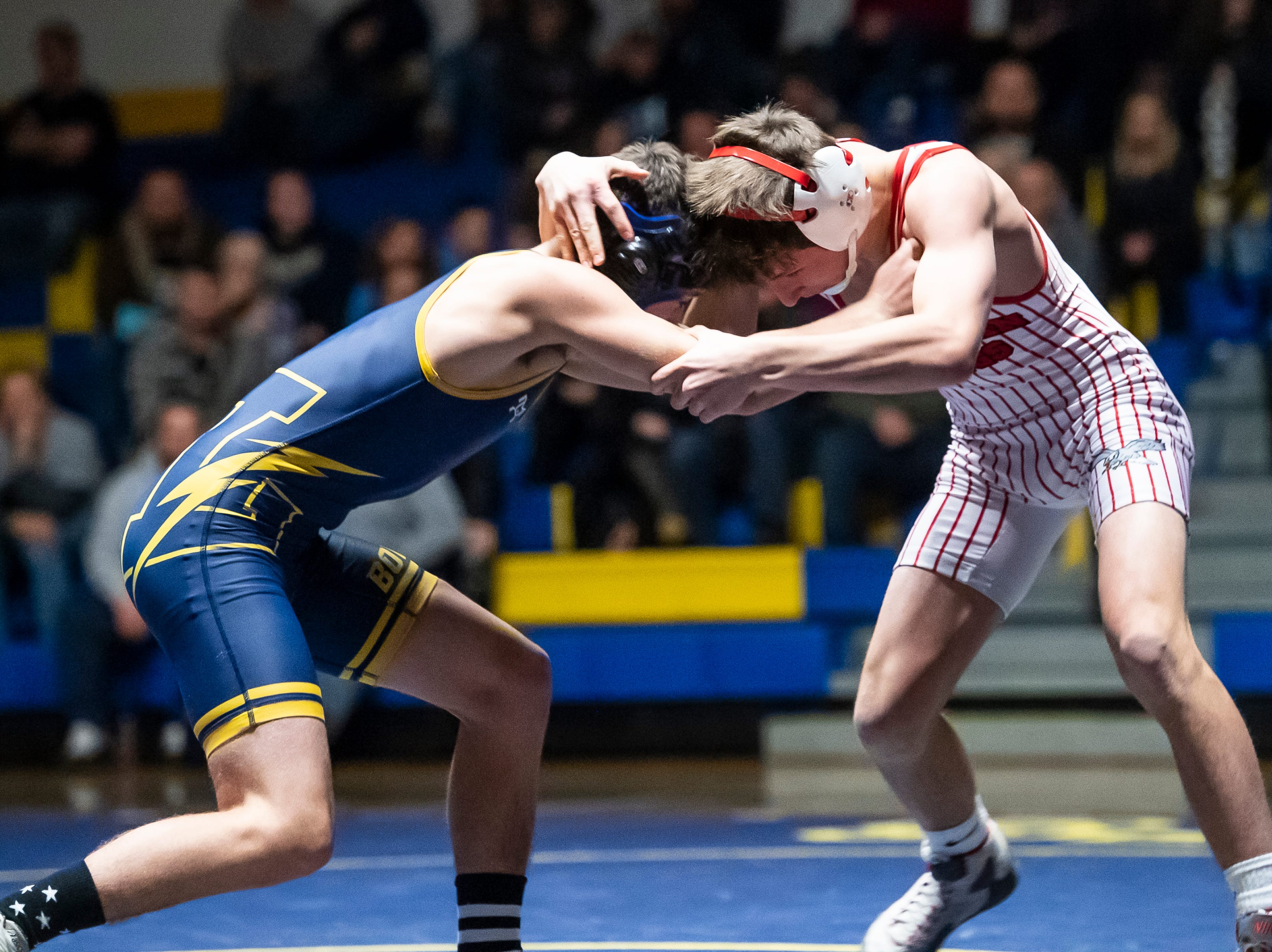 Bermudian Springs' Caleb Mantz (right) wrestles Littlestown's Tanner Trousdale in the 126-pound bout on Thursday, January 24, 2019. Mantz won by fall as the Eagles captured the YAIAA Division 3 title with a 62-12 win.