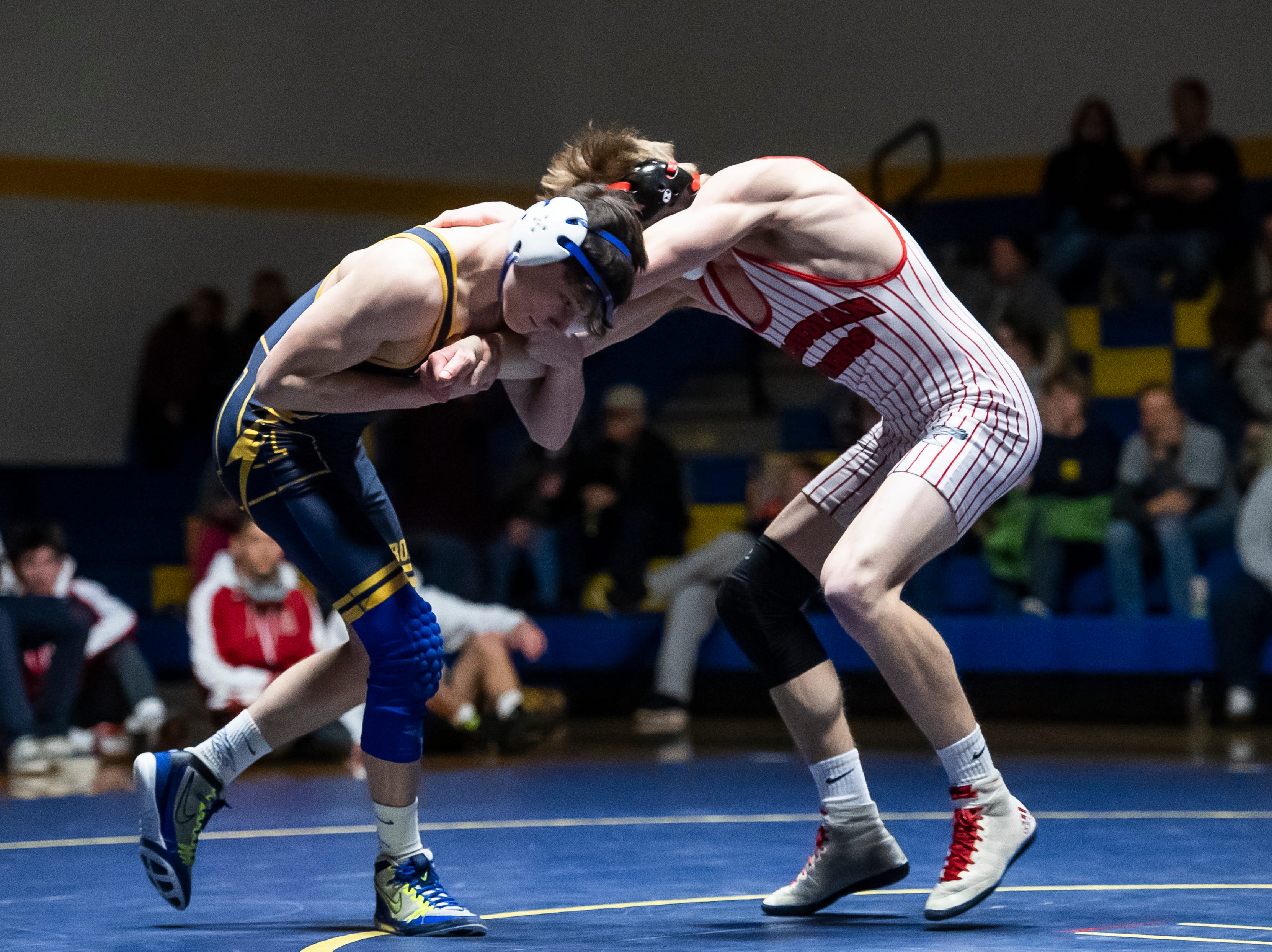 Bermudian Springs' Tanner Althoff, right, wrestles Littlestown's Jacob Yealy in the 145-pound bout on Thursday, January 24, 2019. Althoff won by fall as the Eagles captured the YAIAA Division 3 title with a 62-12 win.