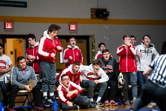In this file photo, the Bermudian Springs bench reacts after Tanner Althoff pins Littlestown's Jacob Yealy in the 145-pound bout on Thursday, January 24, 2019.