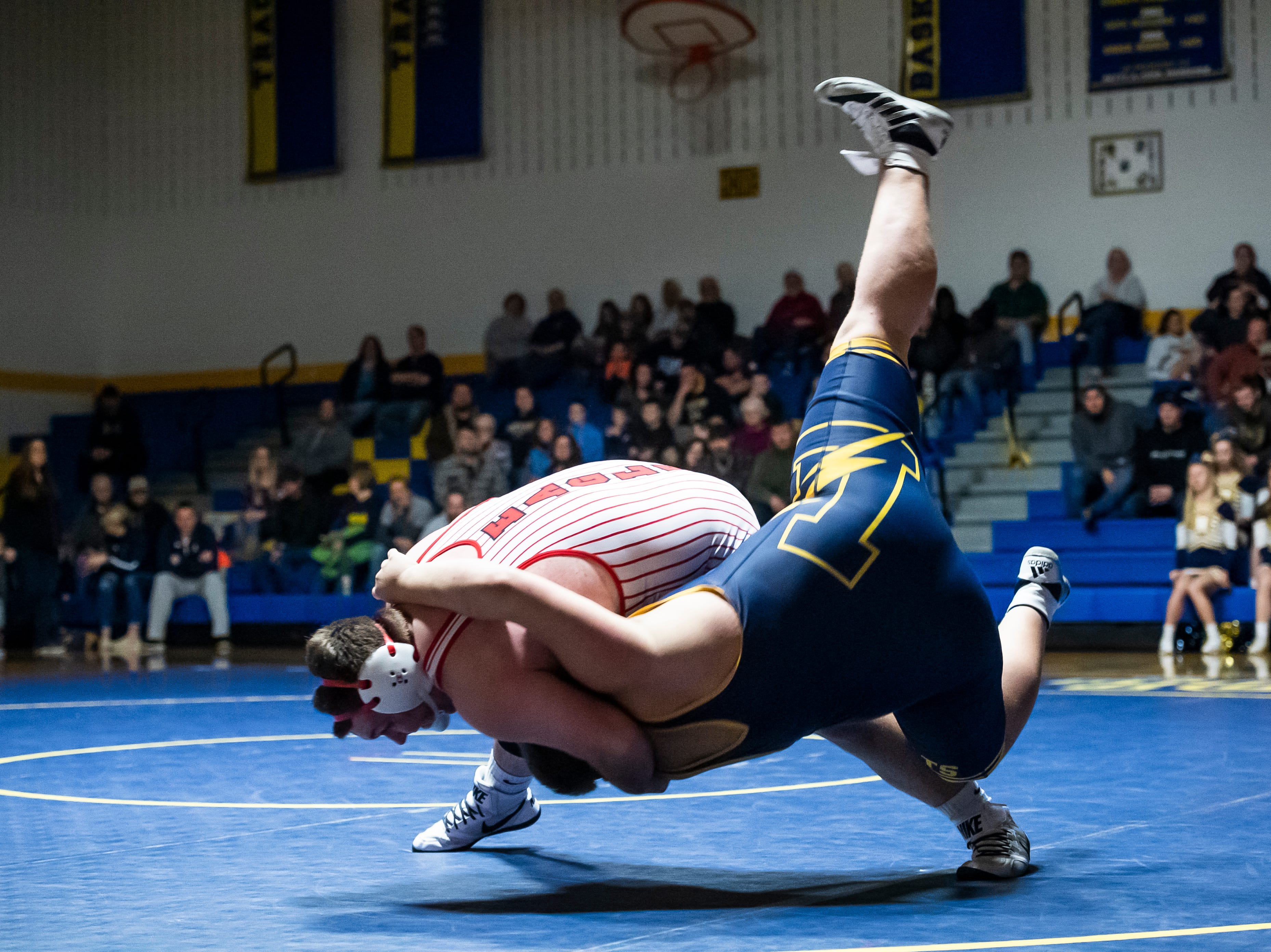 Bermudian Springs' Ryan Lauver (top) wrestles Littlestown's Cordell Irwin in the 285-pound bout on Thursday, January 24, 2019. Lauver won by pin as the Eagles captured the YAIAA Division 3 title with a 62-12 win.
