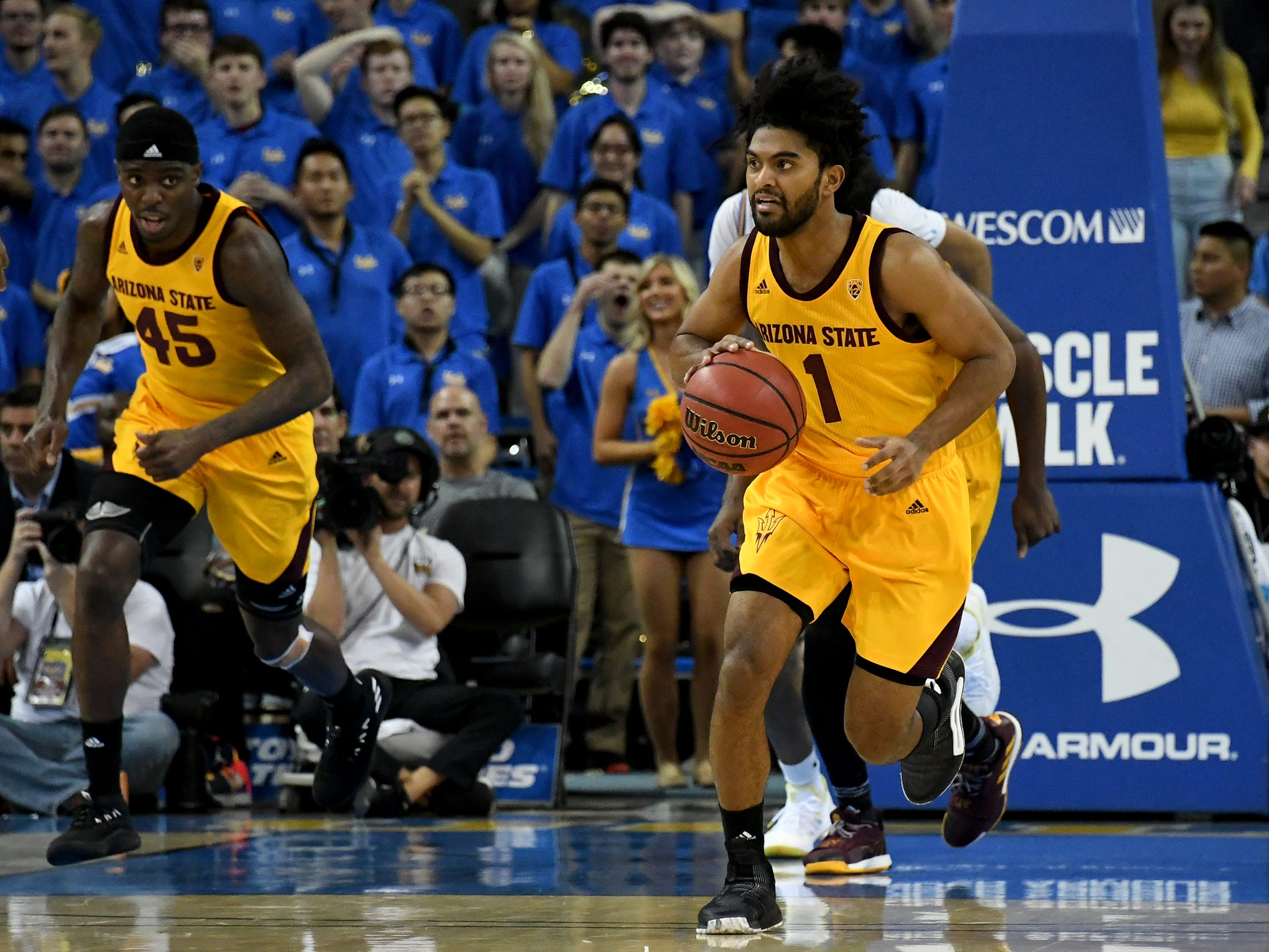 Jan 24, 2019; Los Angeles, CA, USA; Arizona State Sun Devils guard Remy Martin (1) brings the ball up court against the UCLA Bruins during the first half at Pauley Pavilion. Mandatory Credit: Richard Mackson-USA TODAY Sports