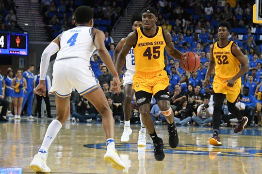 Jan 24, 2019; Los Angeles, CA, USA; Arizona State Sun Devils forward Zylan Cheatham (45) brings the ball up court against UCLA Bruins guard Jaylen Hands (4) during the first half at Pauley Pavilion. Mandatory Credit: Richard Mackson-USA TODAY Sports
