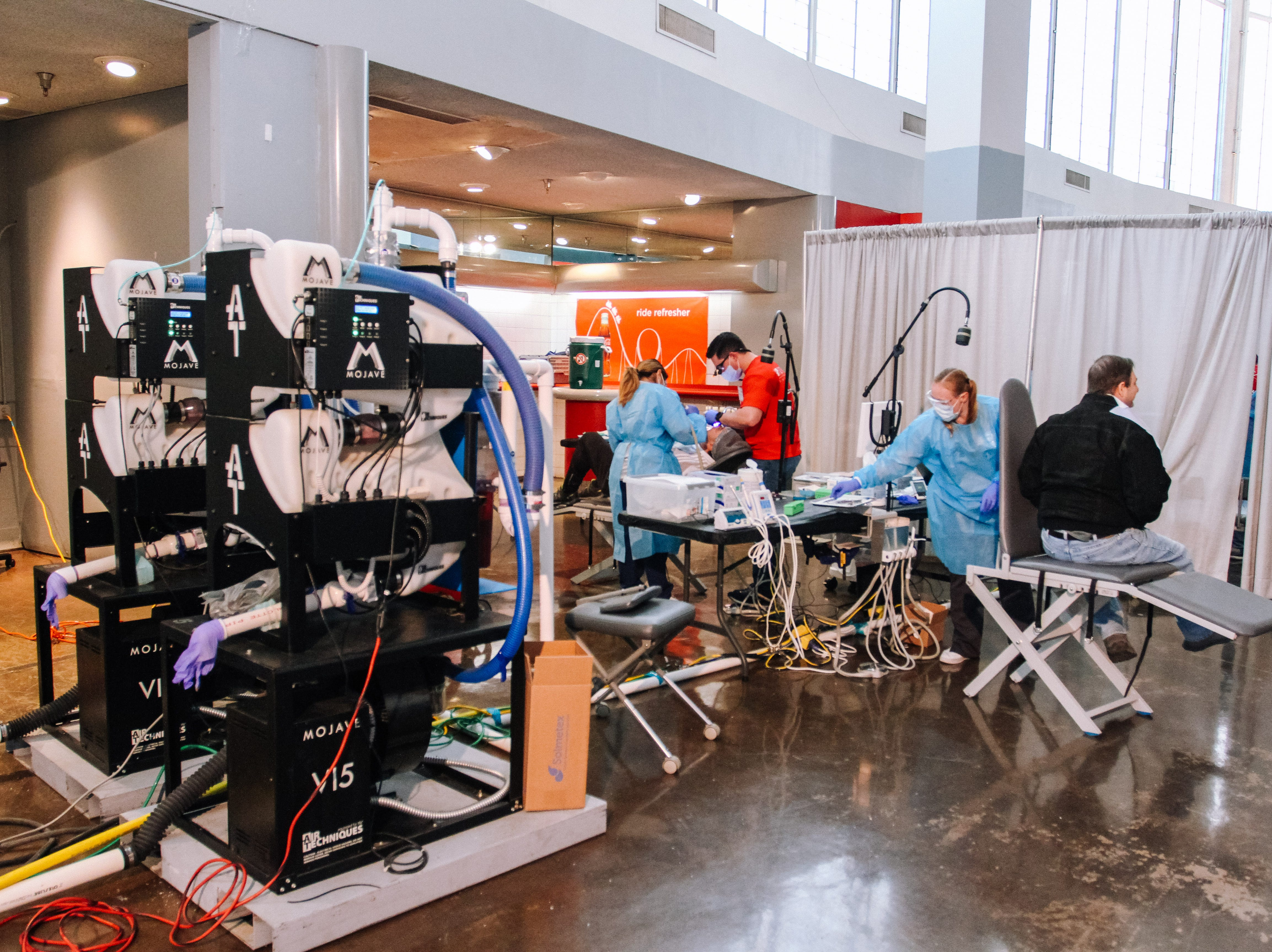 Veterans have dental work done at the 2019 Veterans StandDown at the Arizona State Fairgrounds in Phoenixon Jan. 25, 2019.