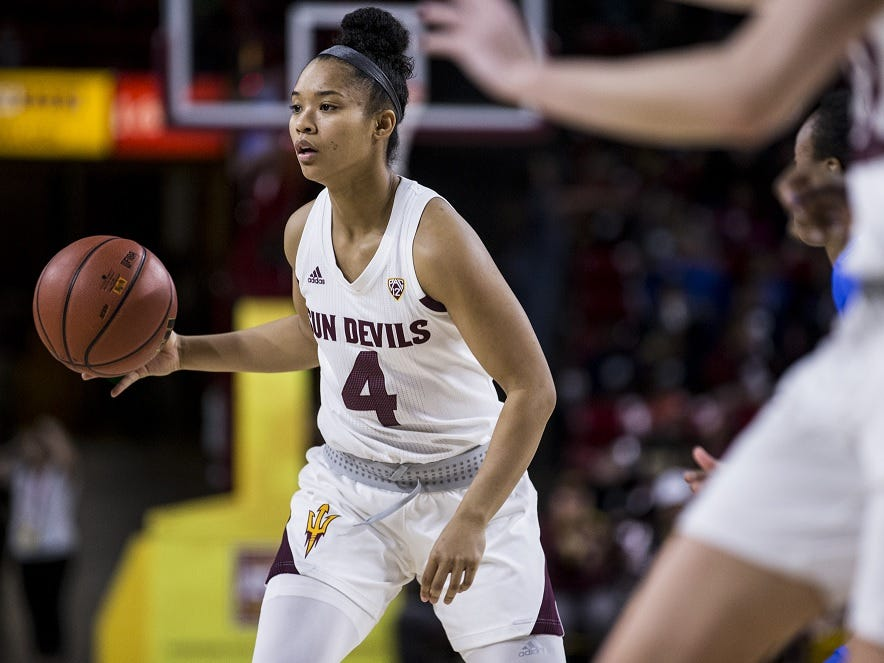 Arizona State's Kiara Russell sets up the offense during the first half of a game Jan. 25 against UCLA.