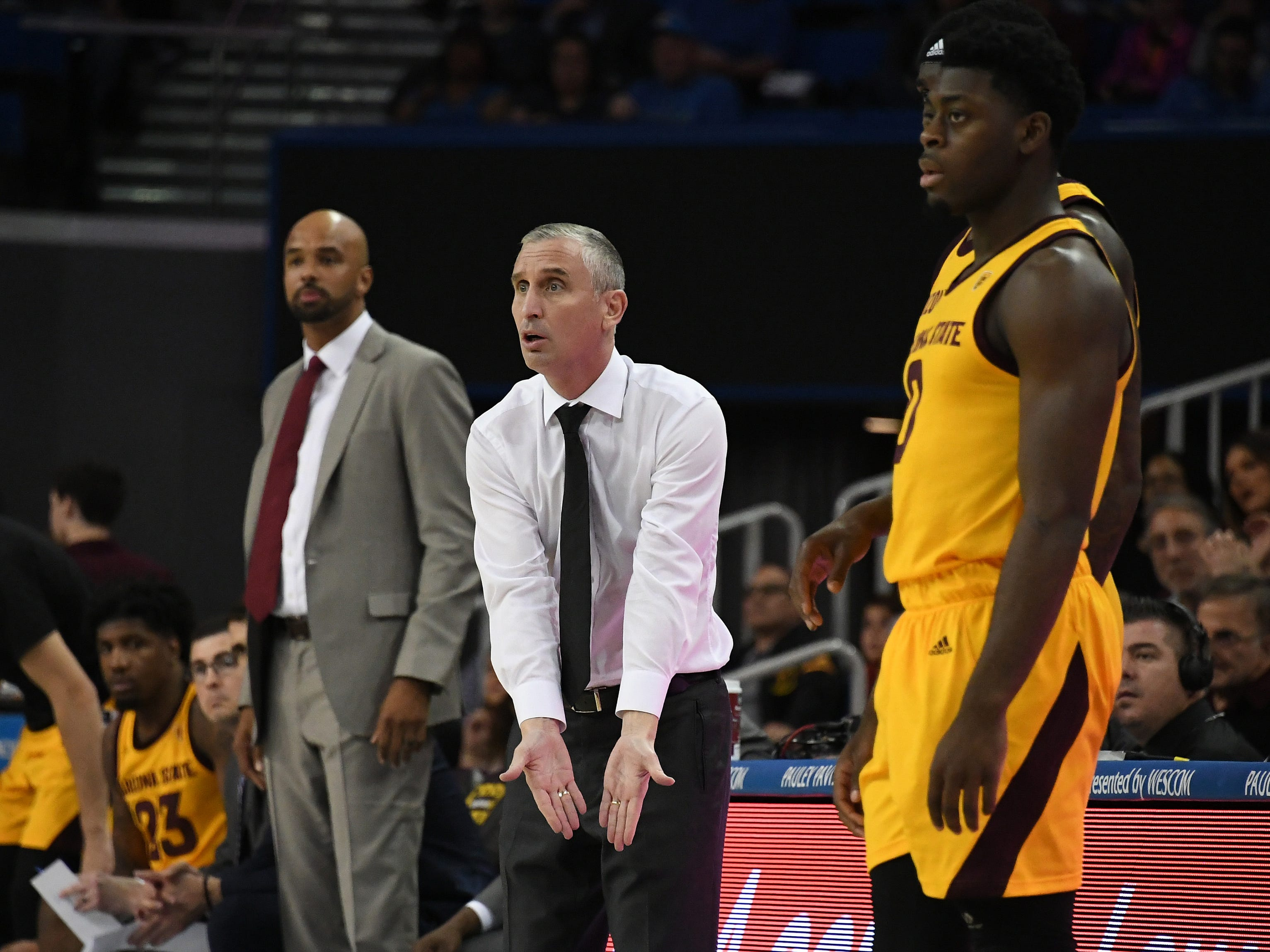 Jan 24, 2019; Los Angeles, CA, USA; Arizona State Sun Devils head coach Bobby Hurley (middle) reacts during the first half against the UCLA Bruins at Pauley Pavilion. Mandatory Credit: Richard Mackson-USA TODAY Sports