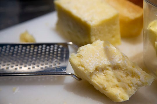 Chef Cassie Shortino uses two different cheeses for a cacio e pepe sauce at Tratto restaurant in Phoenix.
