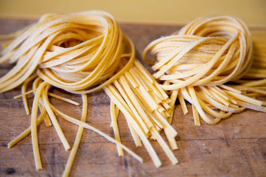 Fresh pasta for cacio e pepe sauce at Tratto restaurant in Phoenix.