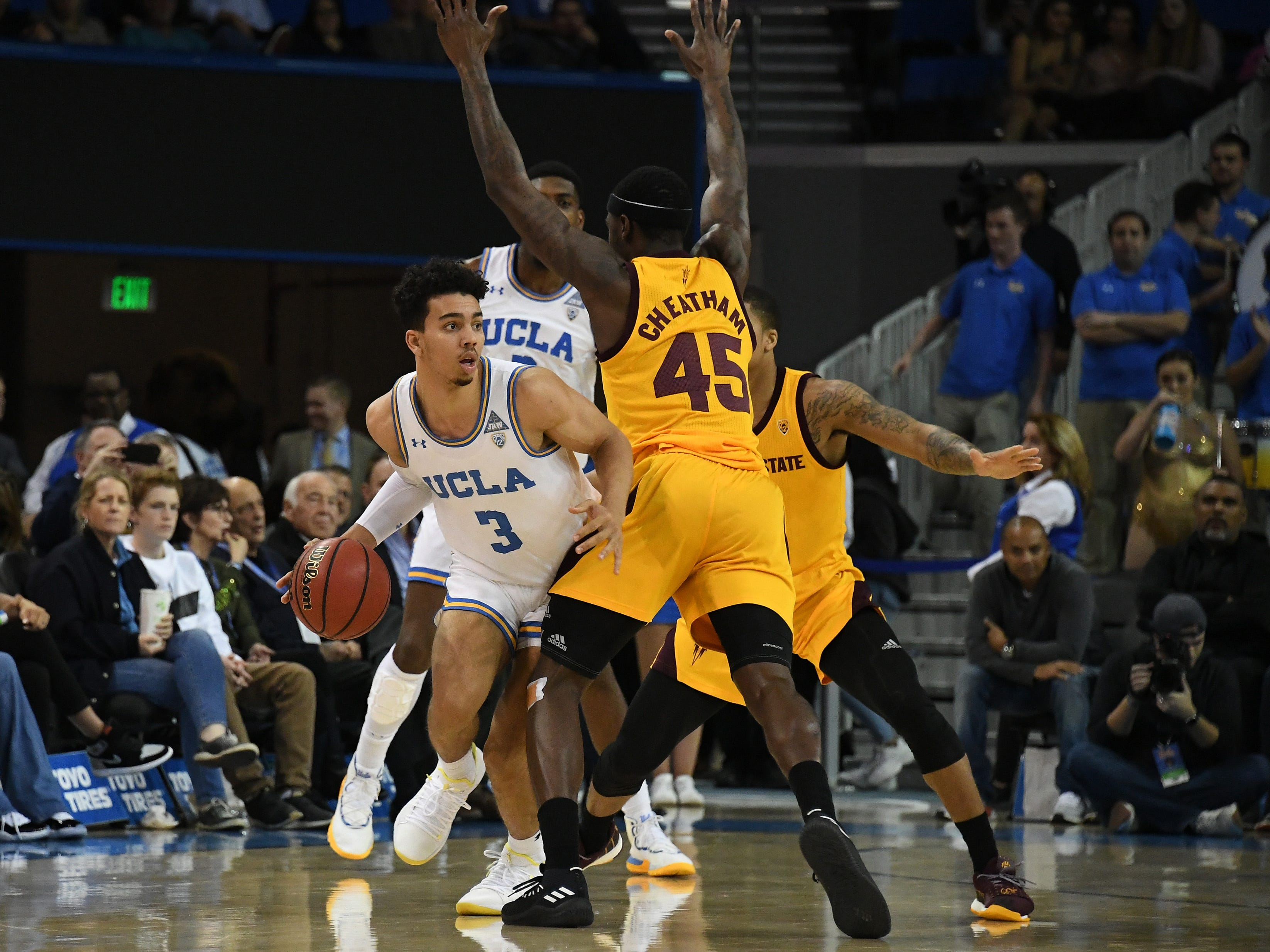 Jan 24, 2019; Los Angeles, CA, USA; UCLA Bruins guard Jules Bernard (3) tries to dribble around Arizona State Sun Devils forward Zylan Cheatham (45) during the first half at Pauley Pavilion. Mandatory Credit: Richard Mackson-USA TODAY Sports