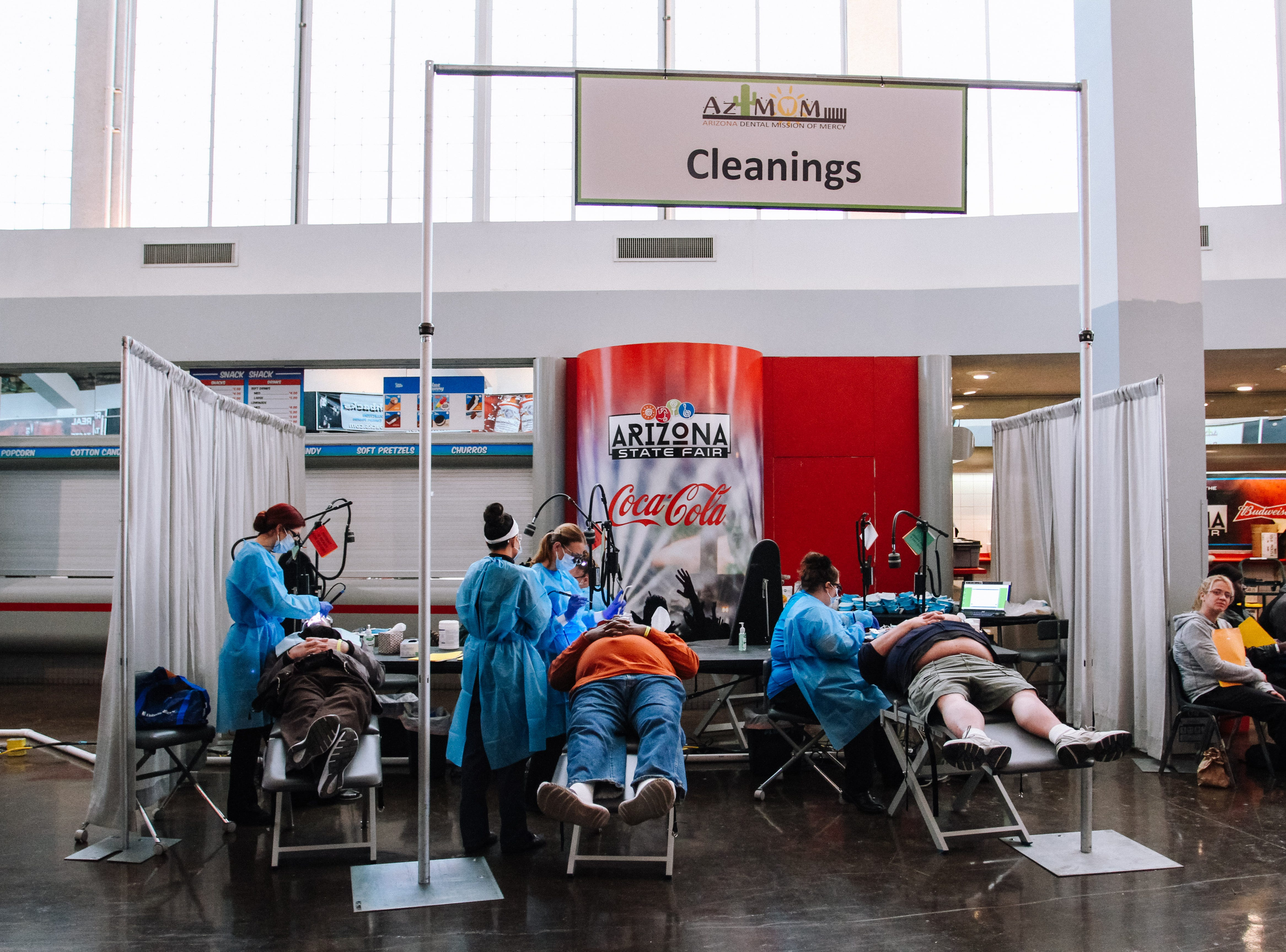 Veterans have dental work done at the 2019 Veterans Stand Down Event at the Arizona State Fairgrounds in Phoenix, Arizona on Friday, Jan. 25, 2019.