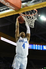 UCLA Bruins guard Jaylen Hands (4) dunks against the Arizona State Sun Devils during the second half at Pauley Pavilion Jan. 24. Richard Mackson-USA TODAY Sports