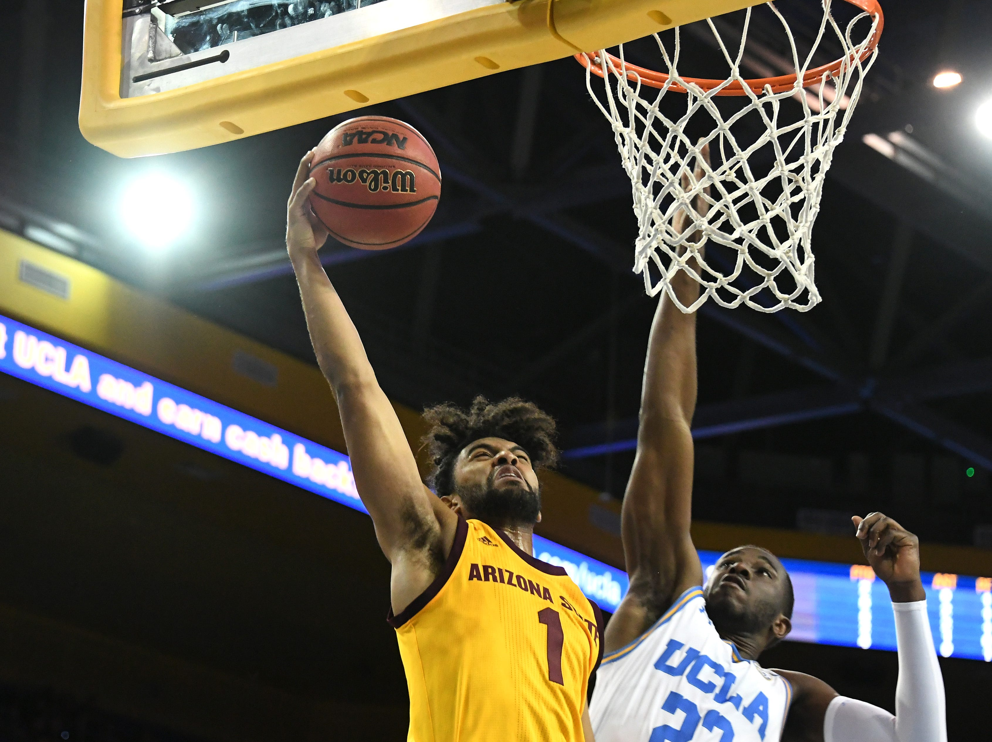 Jan 24, 2019; Los Angeles, CA, USA; Arizona State Sun Devils guard Remy Martin (1) shoots against UCLA Bruins guard Prince Ali (23) during the first half at Pauley Pavilion. Mandatory Credit: Richard Mackson-USA TODAY Sports