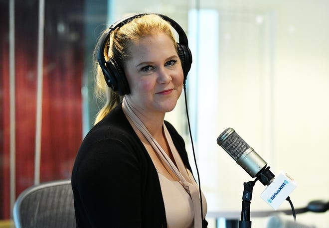 """Amy Schumer talks to Nikki Glaser on SiriusXM's """"You Up with Nikki Glaser"""" on April 10, 2018 in New York City."""