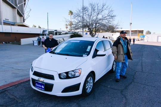 Navy veteran Art Moon takes his driving test at the 2019 Veterans Stand Down at the Arizona State Fairgrounds in Phoenix on Jan. 25, 2019.