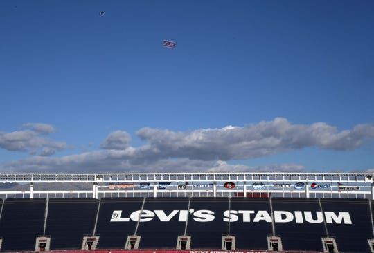 A plane towing a Utah Utes banner over Levi's Stadium during the 2018 Pac-12 Championship against the Washington Huskies at Levi's Stadium Nov. 30. Kirby Lee-USA TODAY Sports