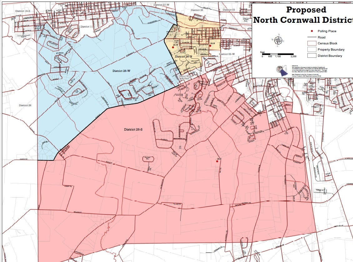 Proposed new voting districts in North Cornwall Township.