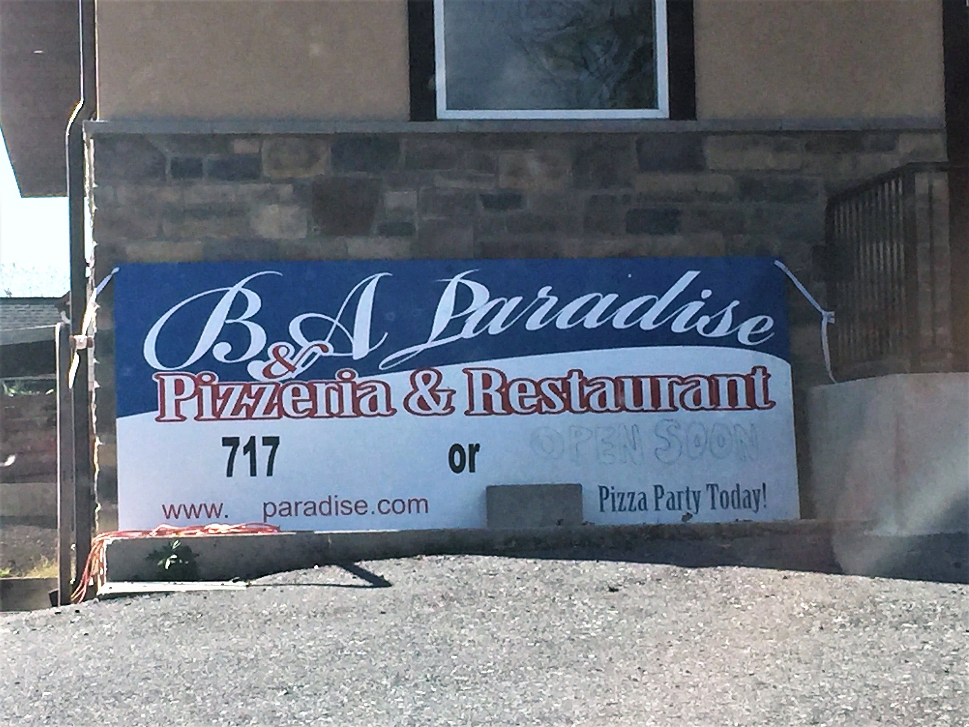 "Renovations have been underway in the previous Vinny Goodtimes for the past couple months, but the sign at the new B&A Paradise Pizzeria & Restaurant promises to be ""open soon."" Details are still limited, although certainly nobody can complain there's going to be more pizza."