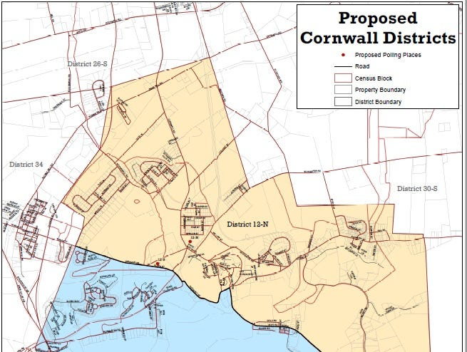 Proposed new voting districts in Cornwall.