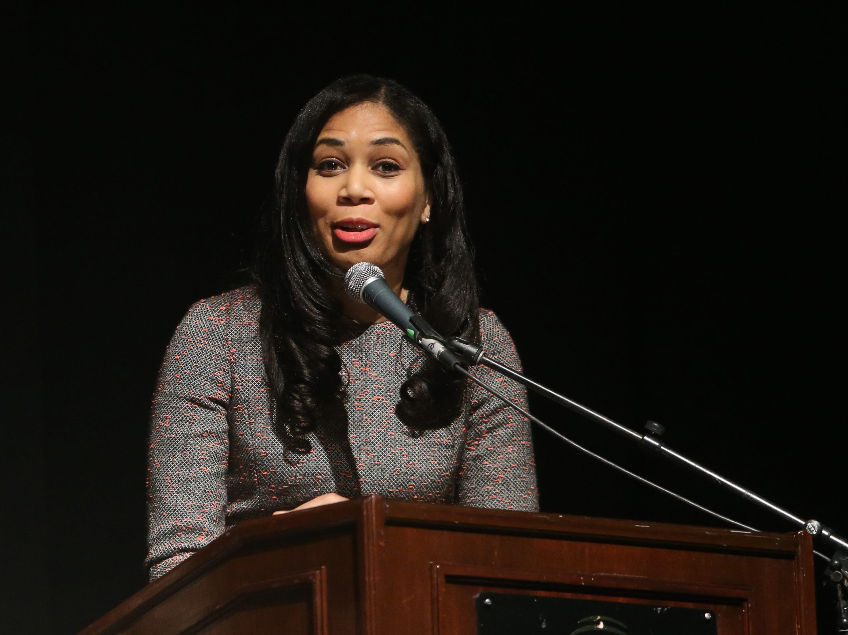 Keynote speaker Kimbriell Kelly speaks during the Martin Luther King Jr. Breakfast in the City of Poughkeepsie on January 25, 2019. Kelly is an investigative journalist for the Washington Post and spoke of her mother's experience growing up in the Jim Crowe south.