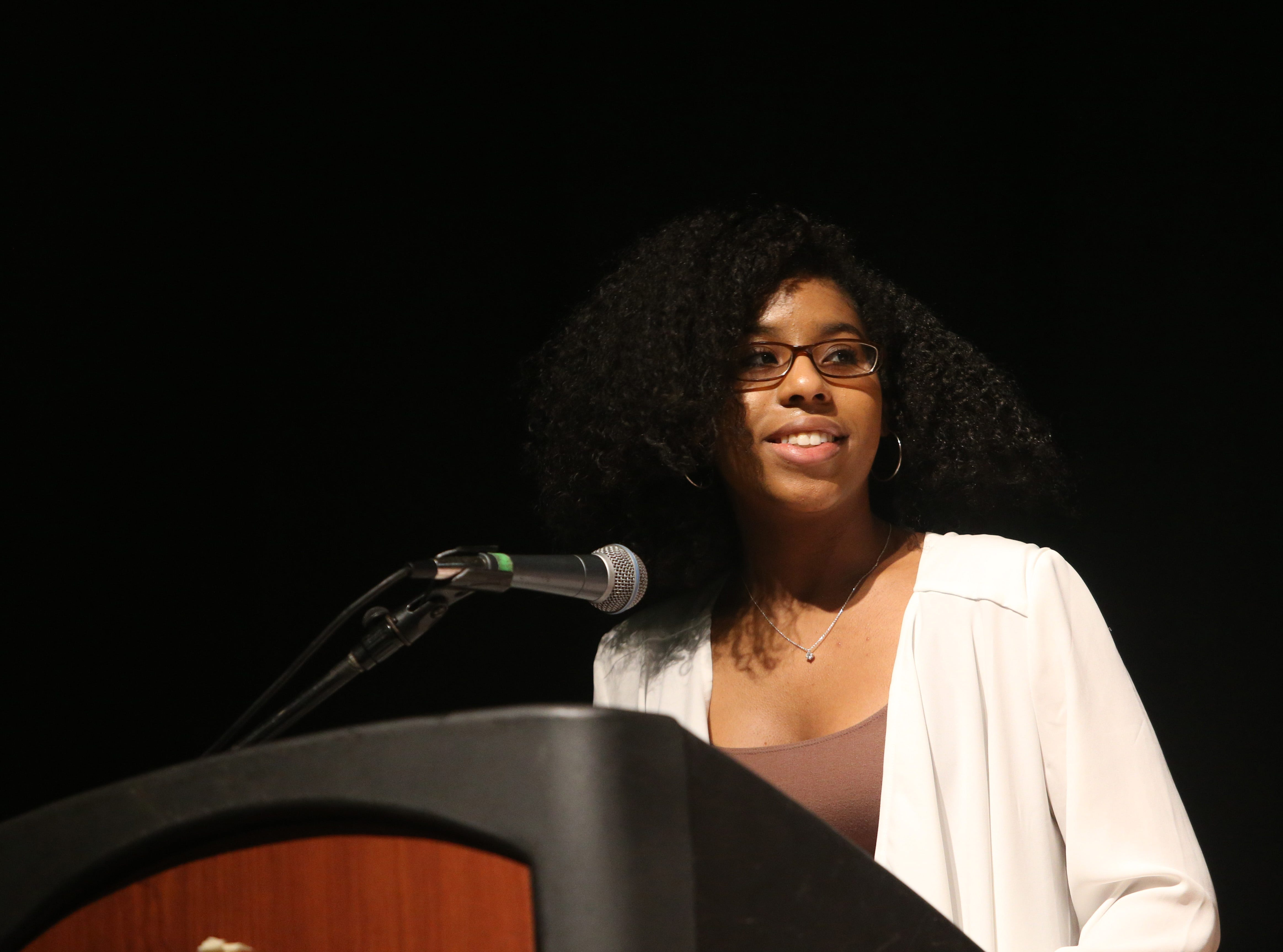 Youth honoree Sashawna A. Isaacs speaks during the Martin Luther King Jr. Breakfast in the City of Poughkeepsie on January 25, 2019.