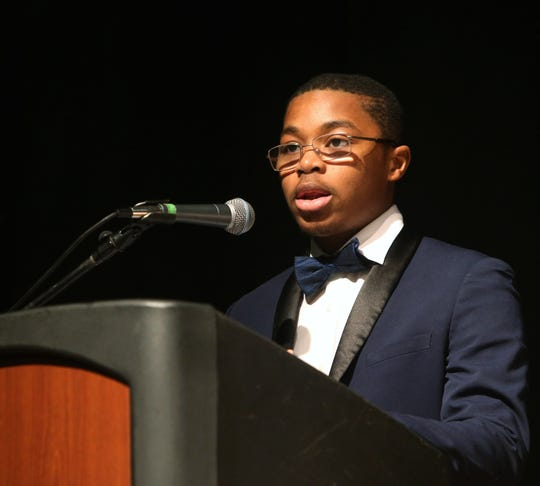 Youth honoree Richmond N. Addae speaks during the Martin Luther King Jr. Breakfast in the City of Poughkeepsie on January 25, 2019.