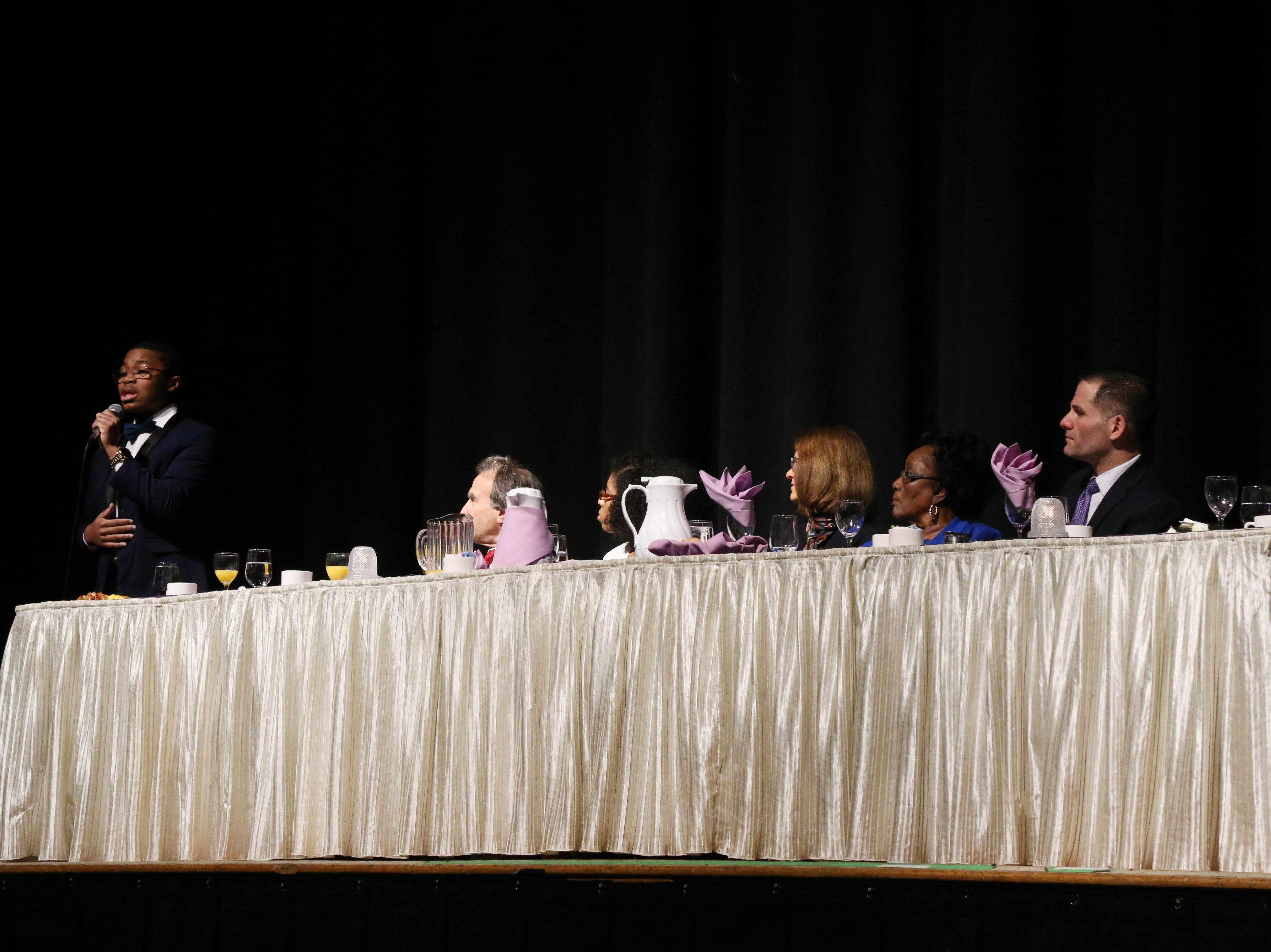 Youth honoree Richmond N. Addae provides a musical interlude during the Martin Luther King Jr. Breakfast in the City of Poughkeepsie on January 25, 2019.