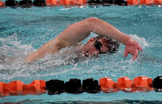 Devon Lonergan of York Suburban swims the final 25 yards of the 500 Free event, Thursday, January 24, 2019.
