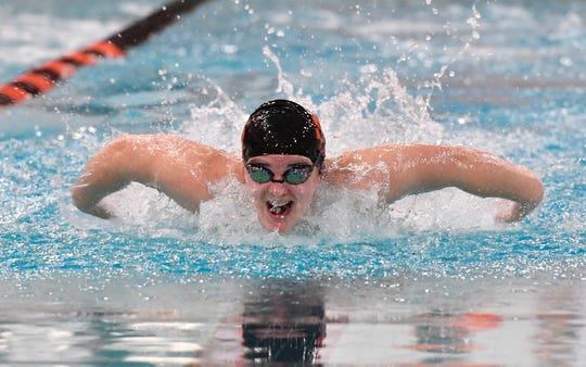 York Suburban's Sophia Guyer swims the butterfly leg of the 200 IM against Dover, Thursday, January 24, 2019.