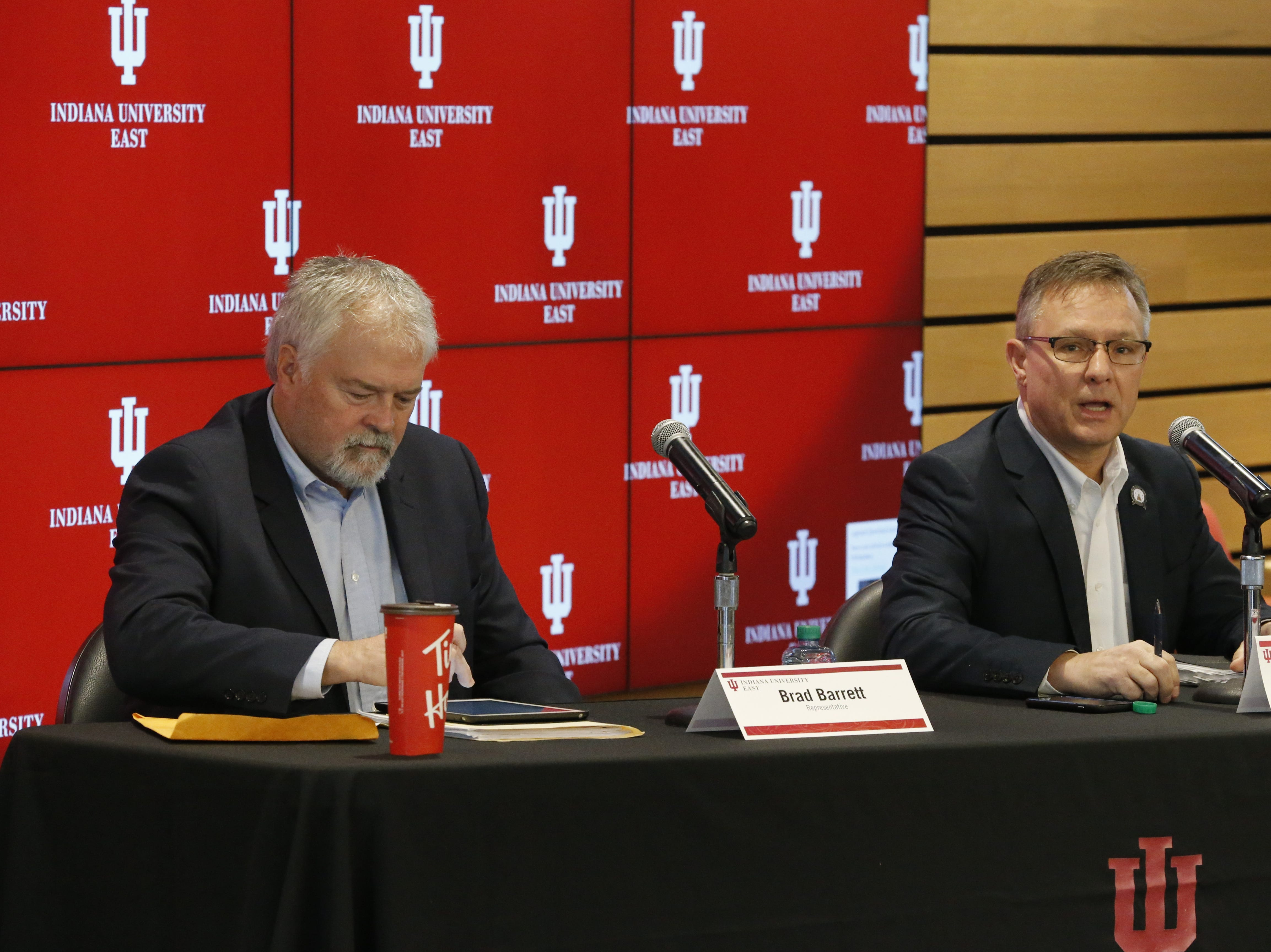 State Sen. Jeff Raatz (right) and State Rep. Brad Barrett were on hand for Friday's Legislative Forum at IU East to give an update on the work being done by the Indiana General Assembly.
